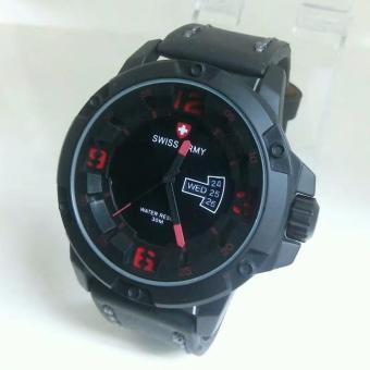 Swiss Army Jam Tangan Pria - Leather Strap - Black-SA 552 ART