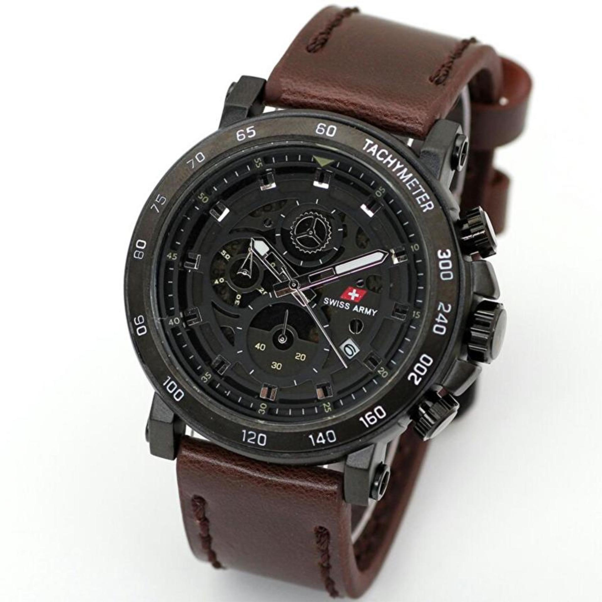 Swiss Army - Jam Tangan Pria - Leather Strap - SA 1115 CRONO .