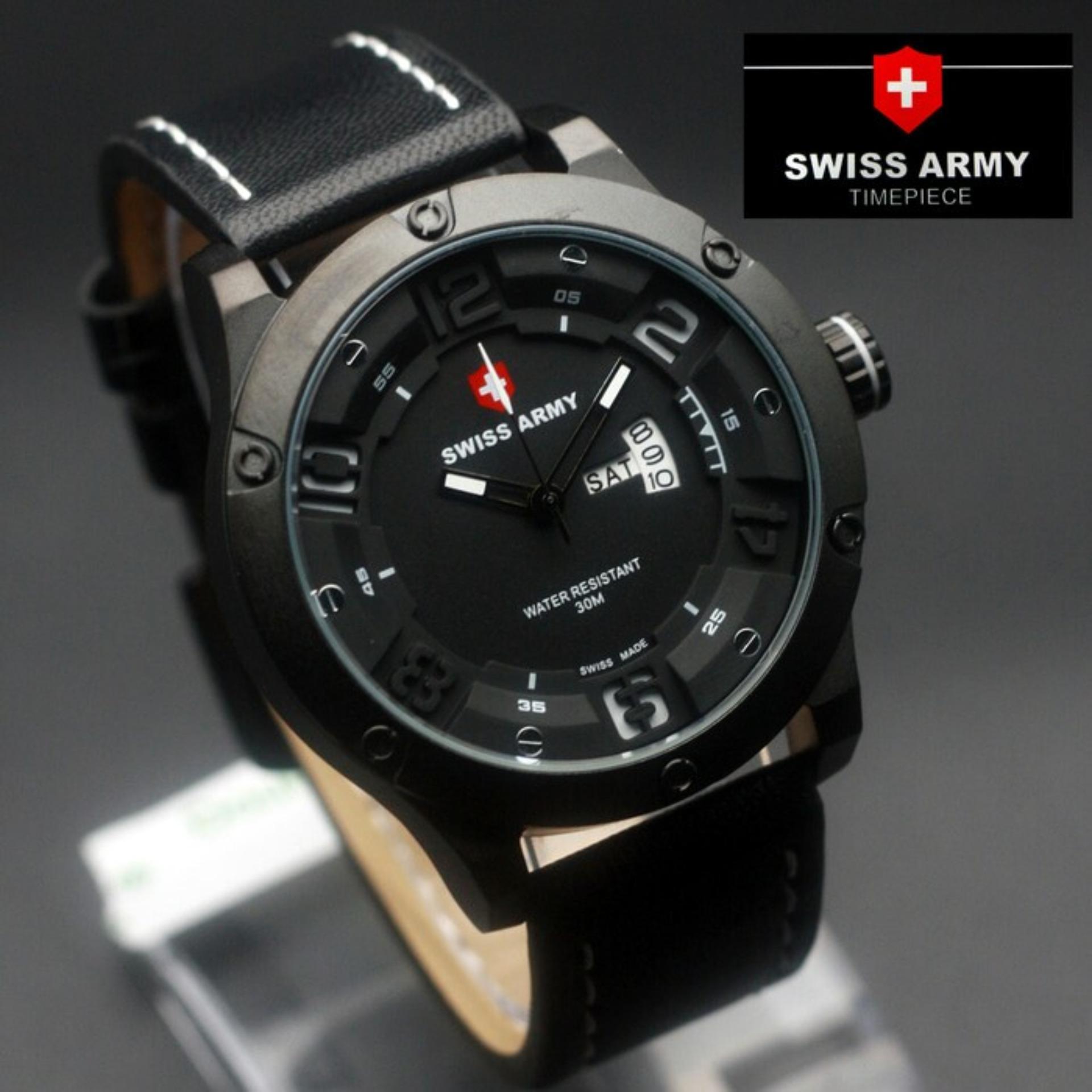 Swiss Army Jam Tangan Pria Original Strap Kulit Sa 3035 Daftar Hitam Variasi Putih 7169