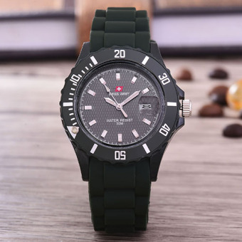 Swiss Army - Jam Tangan Uni Sex - Body Army Green - Black Dial - Rubber