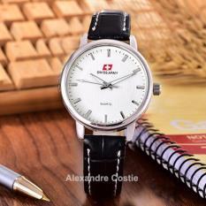 Swiss Army - Jam Tangan Wanita - Body Silver - White Dial - Black Leather -