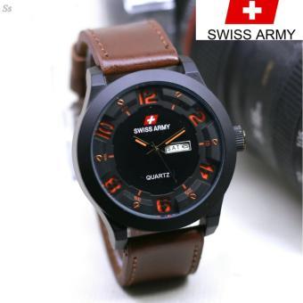 Perbandingan harga Swiss Army Leather Strap Terbaru - Jam Tangan Fashion Pria-Tanggal Hari -