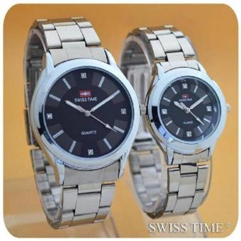 Swiss TIME / Army Jam Tangan Couple - Stainless Steel - SA0123YRT74
