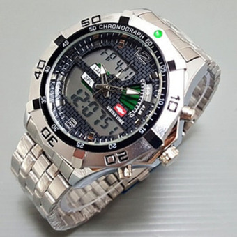 Swiss time /Army Jam Tangan Pria ? Stainlesstell Strap ? Dual time- S7676743 silver hitam