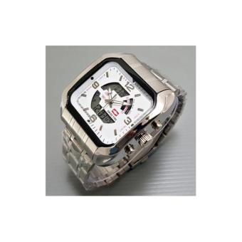 Swiss time /Army Jam Tangan Pria – Stainlesstell Strap – Dual time- SA 8080 TGS- Silver