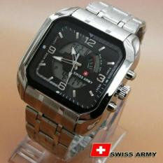 Swiss time /Army Jam Tangan Pria – Stainlesstell Strap – Dual time- SA66787D Hitam