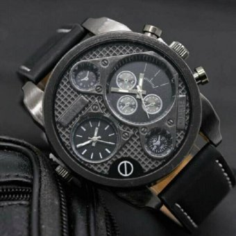 Swiss Time Dual Time - Jam Tangan Pria - Leather Strap -ST566-DS