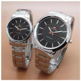 Swiss Time/Army - Jam Tangan Couple Stainless Steel Silver - ST-5367HA