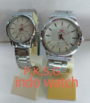 Swiss Time/Army - ST 1477 Jam Tangan Couple Stainless Steel Silver