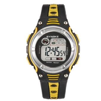 SYNOKE Waterproof Children Boys Digital LED Sports Alarm Date Watch Yellow - intl
