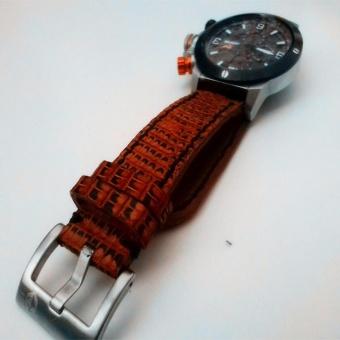 Tali Jam Tangan Kulit Asli Biawak Warna Havana Size 24 mm