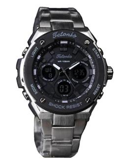Tetonis Dual Time - Jam Tangan Fashion Pria - Stainlees Strap - Abu - TS337BS