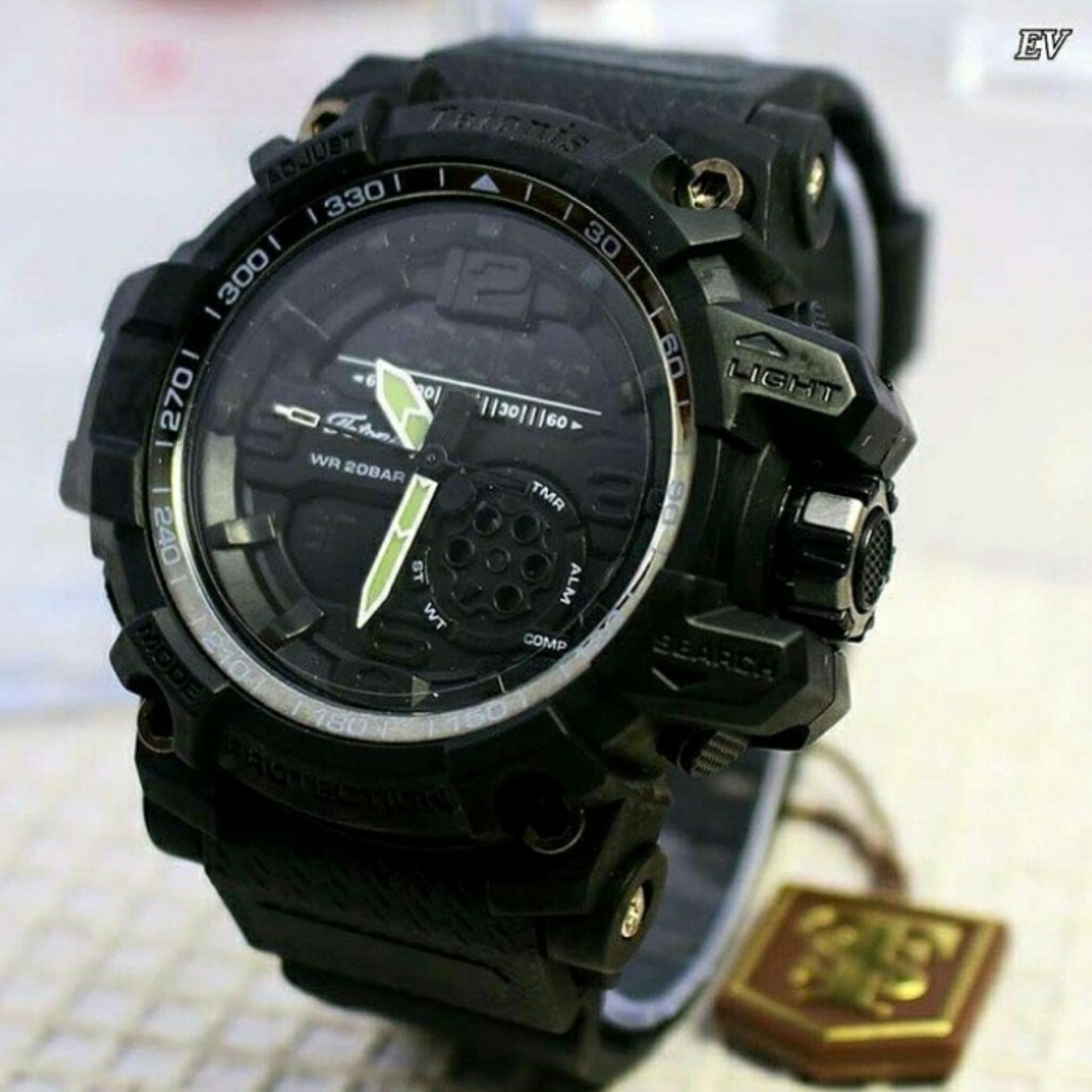Tetonis Dual Time Jam Tangan Sport Wanita Full Rubber Ts2056 Fortuner Fr Ja 855 Strap Pria