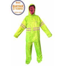 Tiger Head Jas Hujan Stelan Jaket Celana TasLan Bahan Seperti Jas Hujan Axio Baju 2 Lapis - Kuning