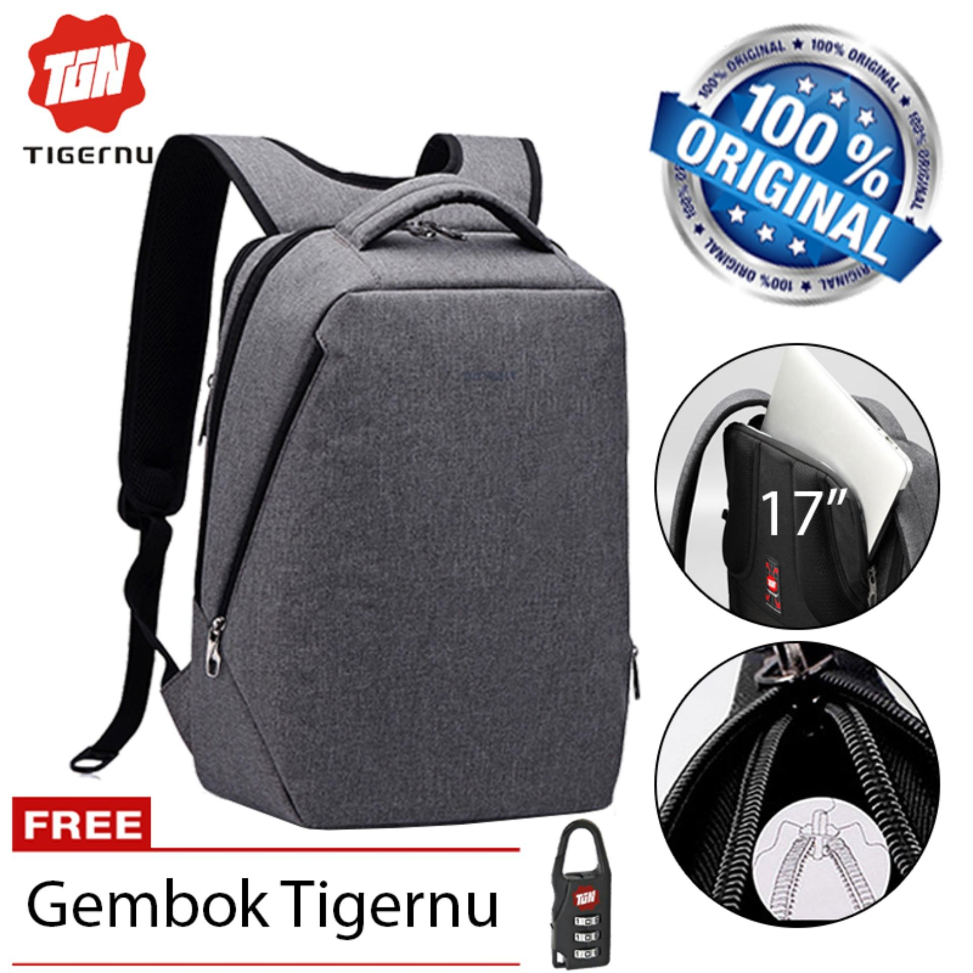 Tigernu Original Tas Ransel Anti Maling Laptop Gaming 17 Inch Anti Theft Waterproof Backpack