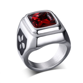 Titanium Steel Retro Korea Fashion Red Rhineston Ring for Men Greatfor Gifts - intl
