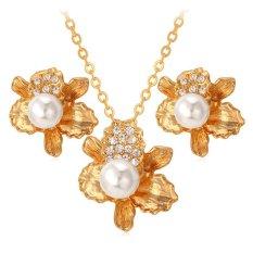 ... U7 Bunga Perhiasan 18 Karat Asli Berlapis Emas Berlian Imitasi Putih Anting Anting Kalung Set