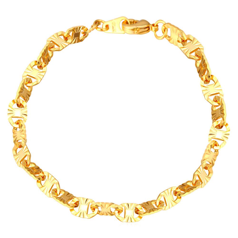 ... U7 Fashion 18 KB Nyata Emas Berlapis Rantai Gelang (Emas) ...