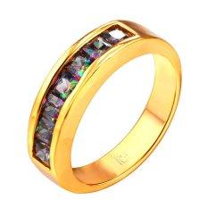 U7 Kemewahan Emas Cincin Kawin With 18 KB Cap Perempuan Kubik Zirkonia 18 KB Nyata Emas Berlapis Fashion Tempat Wanita Perhiasan (Emas)