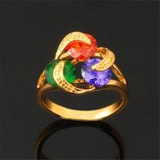 U7 Multi-Warna Kubik Zirkonia Cincin Pertunangan For Perempuan 18 Karat Asli Berlapis Emas 18 Karat Mengoleksi Perhiasan