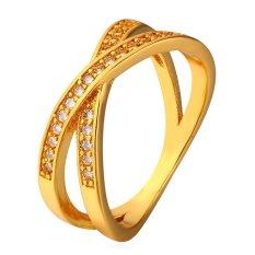 U7 Seksi Cincin Kubik Zirconia 18 Karat Cap Band 18 Karat Asli Berlapis Emas Fashion Perhiasan (Emas)