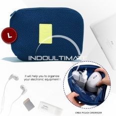 Ultimate Dompet Tas Charger Kabel Power Bank Multifungsi / Cable Poch Travel Multifungsi Big OR 81-01 - Dark Blue