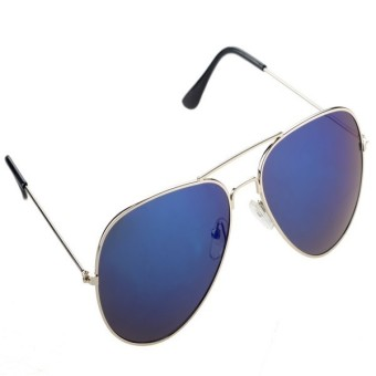 Unisex Fashion Retro Women Men Glasses Aviator Mirror Lens Sunglasses (Blue)