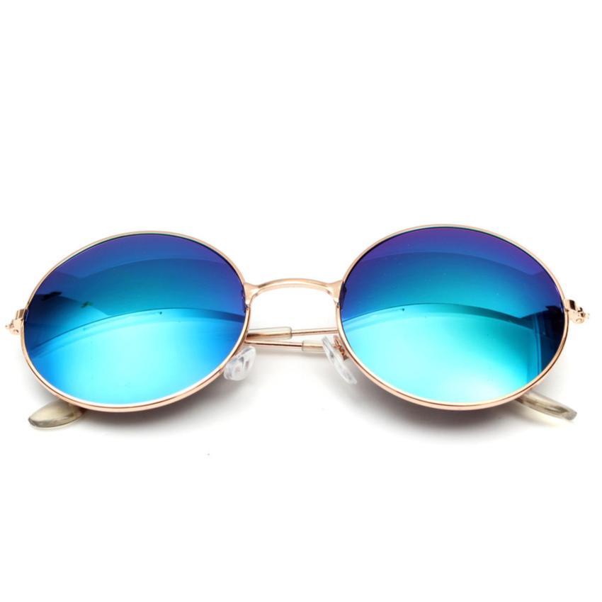Unisex Vintage Round Metal Frame Sunglasses 210 BLUE - Kacamata Wanita