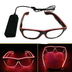 Universal Kacamata DJ Glow LED - Red