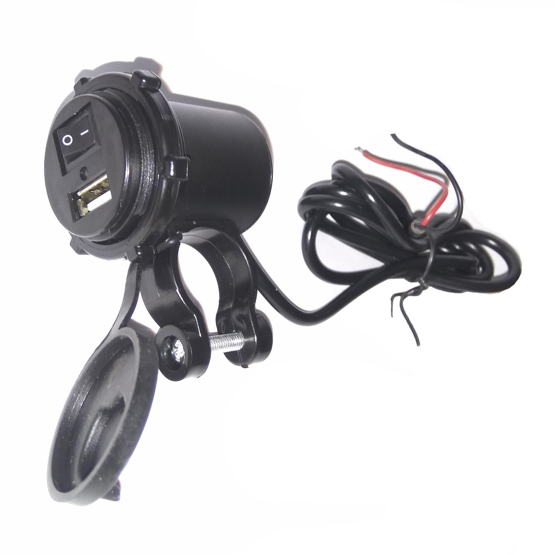 USB Charger Motor Waterproof - Cas HP di motor 2,1A Model Apple - Hitam