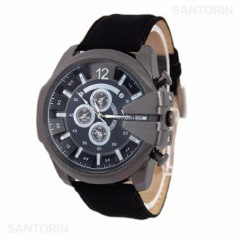 V6 Jam Tangan Fashion Pria Strap Kulit Sintetis Wristwatch Analog Casual Men Leather Watch - Black Black