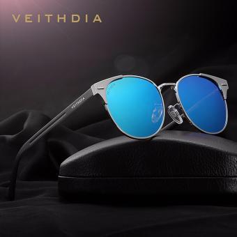 VEITHDIA Unisex kacamata Retro aluminium merek lensa terpolarisasi aksesoris kacamata Vintage kacamata matahari Oculos untuk pria wanita 6109 ? Silver Blue ? - International - 2