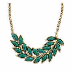 Vienna Linz Kalung Klorofill Korea Vintage Rhinestone Pearl Necklace Fashion Pesta Jewelry Accessories - Green