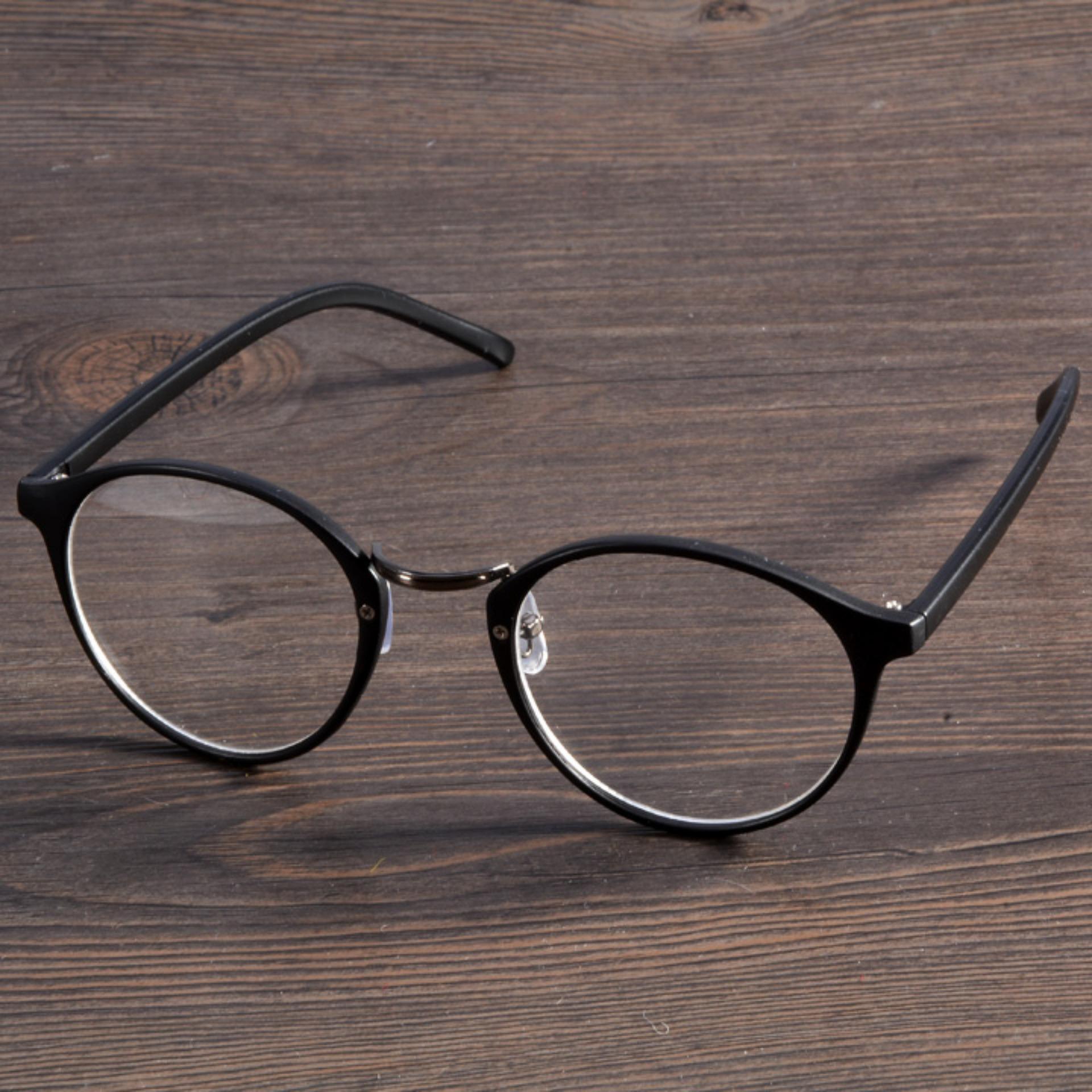 Wanita Linemart Vintage Kacamata Bulat (Hitam) .