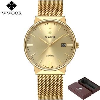 Watches Men WWOOR Brand Luxury Men Waterproof Sports Watches Men Quartz Date Clock Male Black Strap Casual Wrist Watch Relogio-Gold - intl