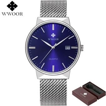 Watches Men WWOOR Brand Luxury Men Waterproof Sports Watches Men Quartz Date Clock Male Black Strap Casual Wrist Watch Relogio-silver blue - intl