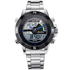 WEIDE WH1104 Pria Big Lampu LCD Layar Dual Time Tanggal Alarm Stop Analog Digit Multi Fungsi Olahraga Tahan Air Watch biru