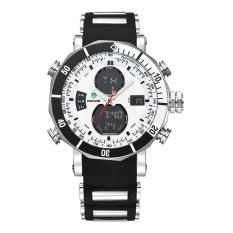 WEIDE WH5203 Men Military Stainless Steel Quartz Wristwatch Waterproof Multi-function LCD Digital Men's Clock Black White - intl