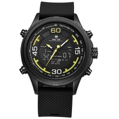 WEIDE WH6306 Olahraga Outdoor Tahan Air Pria PU Leather Strap Watches-Kuning-Intl