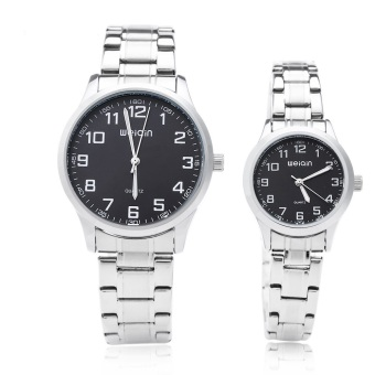 WEIQIN W00123 Couple Quartz Watch Stainless Steel Strap Big Number Display Wristwatch (BLACK)