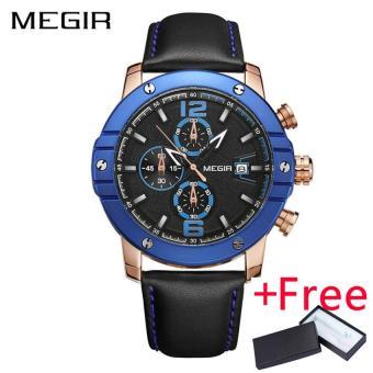 Wholesaler MEGIR 2017 New Men Sport Watch Jam Tangan Leather Strap Chronograph Quartz Military Watch Jam Tangan es