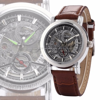 WINNER Classic Mens Skeleton Dial Automatic Mechanical Date Retro Brown Leather Watch PMW044 .