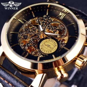 Winner Golden Luxury Skeleton Inside Men Watches Top Brand Luxury Mechanical Watch - intl