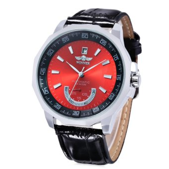 WINNER Male Auto Mechanical Watch Date Display Working Sub-dial Wristwatch RED WITH BLACK - intl