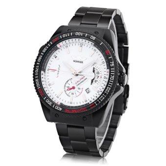 Winner Men Mechanical Watch Date Display Luminous Stainless Steel Band Wristwatch WHITE - intl