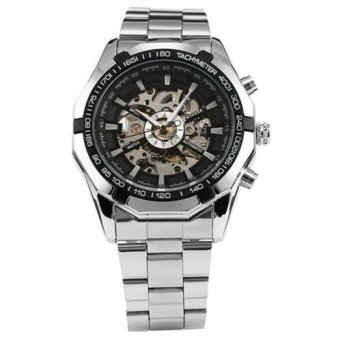 WINNER Men`s Skeleton Dial Steel Strap Self-Wind Mechanical Watch (Black Face