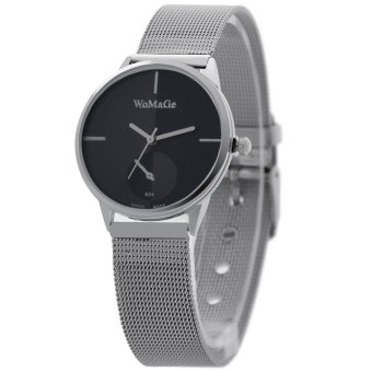 WOMAGE Hot-sale Silver Net Strap Wristwatch Couple Quartz Leather Men Watch65401(Black)