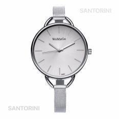 Womage Jam Tangan Wanita Fashion Casual Analog Stainless Steel Strap Lady Wristwatch Watch - SILVER