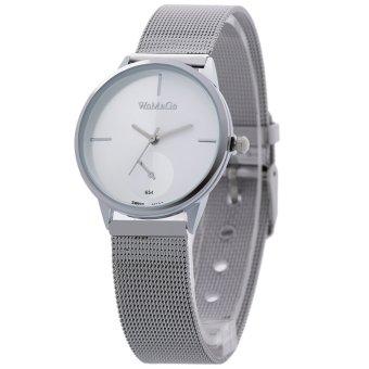 WOMAGE Panas-Penjualan Jaring Perak Pasangan Pria Jam Tangan Tali Kulit Kuarsa Watch65401 (Putih)