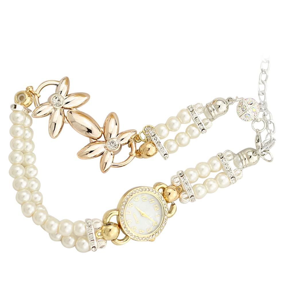 Women Lady Girl Fashion Imitation Flower Casual Party Chain Bracelet Wrist Watch Wristwatch - intl